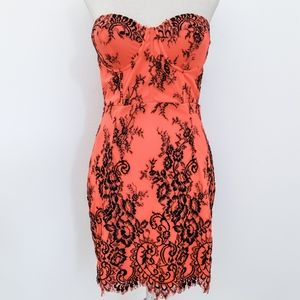 Bright Orange Black Lace Dress with Padding